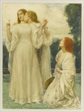 L'oracle: trois jeunes femmes dans un parc, 1897. Creator: Bell, Robert Anning (1863-1933).