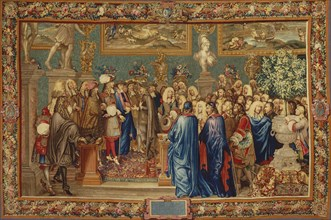 An audience granted by Louis XIV to the Count of Fuentes? at the Louvre, 24th March 1662, ca 1730. Creator: Ballin, Claude I, (after) (1615-1678).