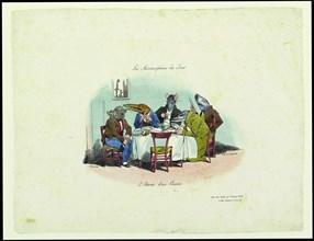 Les Métamorphoses du jour. L'attente d'un convive (The Metamorphoses of the day. Waiting for the gue Creator: Grandville, Jean-Jacques (1803-1847).