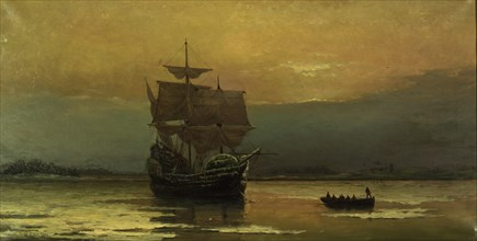 The Mayflower on Her Arrival at Plymouth Harbor, 1882. Creator: Halsall, William Formby (1841-1919).