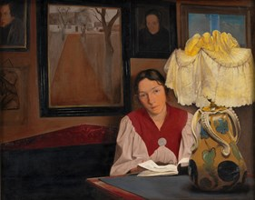 The Artist's Wife by Lamplight, 1898. Creator: Ring, Laurits Andersen (1854-1933).