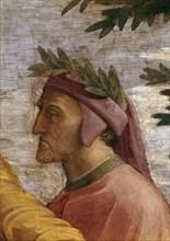 Disputa. Detail: Dante Alighieri (Fresco in Stanza della Segnatura), ca 1510-1511. Creator: Raphael (Raffaello Sanzio da Urbino) (1483-1520).