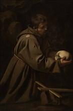 Saint Francis in Meditation, ca 1606. Creator: Caravaggio, Michelangelo (1571-1610).
