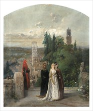 Dante and Beatrice. Creator: Induno, Gerolamo (1825-1890).