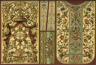 Embroidery, leather tapestry, goldsmith's work, 17th, 18th and 19th centuries, (1898). Creator: Unknown.