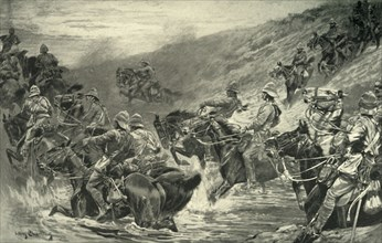 'The Dash for Kimberley - The 10th Hussars Crossing Klip Drift', 1900. Creator: John Charlton.