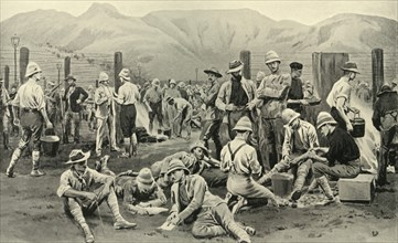 'British Prisoners Waiting for Release: The Camp at Nooitgedacht', 1901. Creator: Frank Dadd.