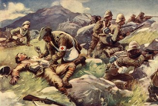 'A Non-Combatant Hero - An Army Doctor at Work in the Firing Line', 1902. Creator: Unknown.