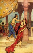 'The Ordeal of Queen Draupadi', 1913. Creator: Warwick Goble.