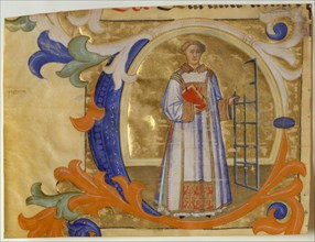 Manuscript Illumination with Saint Lawrence in an Initial C, from a Gradual, ca. 1380-90. Creator: Simone Camaldolese.