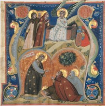 Manuscript Illumination with Scenes of Easter in an Initial A, from an Antiphonary, ca. 1320. Creator: Neri da Rimini.