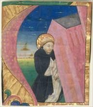 Manuscript Illumination with Saint Dominic Saving the Church of Saint John...mid-15th century. Creator: Unknown.