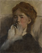 Young Woman with Her Hand over Her Mouth, ca. 1875. Creator: Edgar Degas.