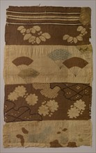 Tsujigahana Textile with Horizontal Stripes, Flowering Plants, Fans, Snowflakes..., ca. late 16th ce Creator: Unknown.