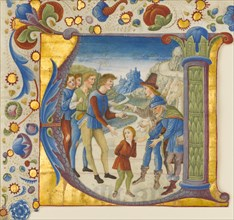 Manuscript Illumination with Joseph Sold by His Brothers in an Initial V..., ca. 1490. Creator: Giovanni Pietro da Cemmo.