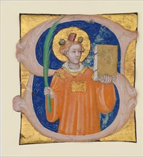 Manuscript Illumination with Saint Stephen in an Initial S, from an Antiphonary, ca. 1410-20. Creator: Master of the Brussels Initials.