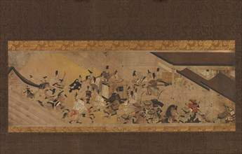 """Scene from """"Imperial Visit to Rokuhara"""" from The Tale of the Heiji Rebellion..., 18th century. Creator: Unknown."""