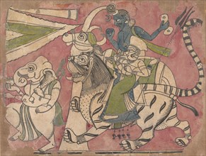 Ganesha Leads Shiva and Durga in Procession, 18th century. Creator: Unknown.
