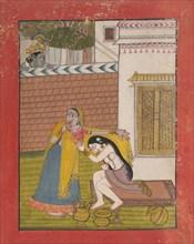Krishna Spying on Radha, ca. 1780-90. Creator: Unknown.