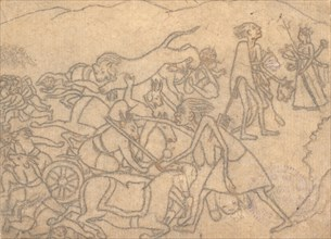 Kali Presenting the Heads of Chanda and Munda to Durga...the Devi Mahatmya..., ca. 1780. Creator: Unknown.