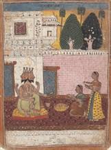 Khambavati Ragini...from a Dispersed Ragamala Series (Garland of Musical Modes), 1700-1725. Creator: Unknown.