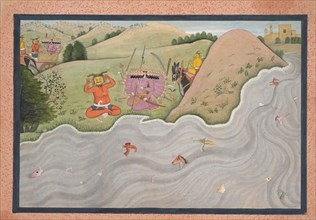 The Demon Marichi Tries to Dissuade Ravana... from a dispersed Ramayana series, ca. 1780. Creator: Unknown.