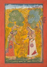 Vasanti Ragini, Page from a Ragamala Series (Garland of Musical Modes) , ca. 1710. Creator: Unknown.