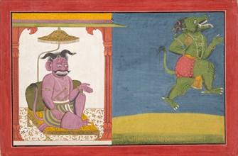 The Demon Hiranyaksha Departs the Demon Palace... from a Bhagavata Purana Series, ca. 1740. Creator: Unknown.