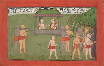 Lakshmana and Sugriva Being Carried by Palanquin to Receive Rama's Blessings..., ca. 1710-25. Creator: Unknown.