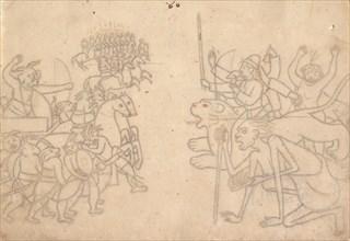 Durga and Kali Approach the Gathered Armies of Chanda and Munda... the Devi Mahatmya , c.1780. Creator: Unknown.