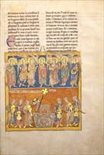 Leaf from a Beatus Manuscript: Seven Angels Hold the Cups of the Seven Last Plagues.., ca. 1180. Creator: Unknown.