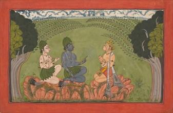Hanuman before Rama and Lakshmana... the dispersed 'Mankot' Ramayana series, ca. 1710-25. Creator: Unknown.