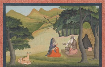 Queen Choladevi Before the Hermit-Sage Angiras... from a Dispersed Vrataraja..., ca. 1790. Creator: Unknown.