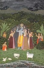 Krishna and the Gopis Take Shelter from the Rain, 1760. Creator: Unknown.