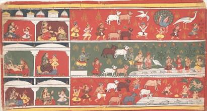 Bakasura, the Crane Demon, Arrives in Brindavan... a Dispersed Bhagavata Purana..., ca. 1700. Creator: Unknown.