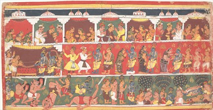Encounters in Mathura: Page from a Dispersed Bhagavata Purana..., ca. 1700. Creator: Unknown.