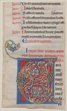 Manuscript Illumination with Initial V, from a Bible, ca. 1175-95. Creator: Unknown.