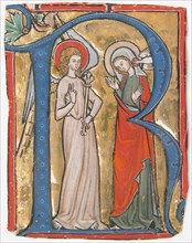 Manuscript Illumination with the Annunciation in an Initial R, from a Gradual, ca. 1300. Creator: Unknown.