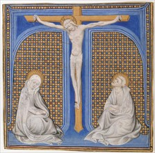 Manuscript Illumination with Crucifixion in an Initial T, from a Missal, ca. 1400. Creator: Unknown.