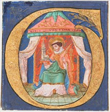 Manuscript Illumination with Saint Trudo (Trond) in an Initial O, from a Choir Book, 15th century. Creator: Unknown.