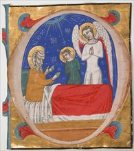 Manuscript Illumination with Tobit, Tobias, and the Archangel Raphael in an Initial O..., mid-14th c Creator: Unknown.