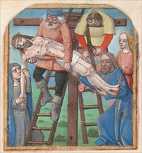 Manuscript Illumination with the Descent from the Cross, from a Book of Hours, late 15th century. Creator: Unknown.