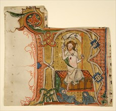 Manuscript Leaf Showing an Illuminated Initial R with The Resurrection, late 13th century. Creator: Unknown.