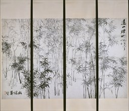 Misty Bamboo on a Distant Mountain, dated 1753. Creator: Zheng Xie.