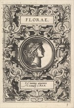 Bust of Florae surrounded by strapwork, from the series 'Deorum dearumque,' a set of image..., 1573. Creator: Unknown.