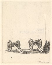 Two cannons, two soldiers seen from the back seated to the right, from 'Equipment n..., ca. 1638-43. Creator: Stefano della Bella.