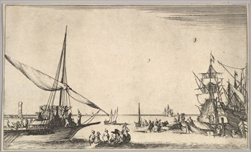 A galley arriving at port to left, several rowboats in center, ships at port to right, fro..., 1639. Creator: Stefano della Bella.