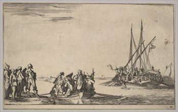 A rowboat full of men in center, a group of men standing on shore at left, a ship full of ..., 1639. Creator: Stefano della Bella.