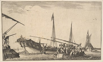 A rowboat full of men at right, a ship with men descending into a rowboat behind to left..., 1639. Creator: Stefano della Bella.