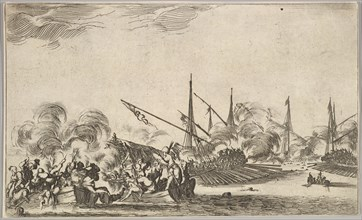 Combat between several rowboats and ships, two groups of men in rowboats fighting to left..., 1639. Creator: Stefano della Bella.